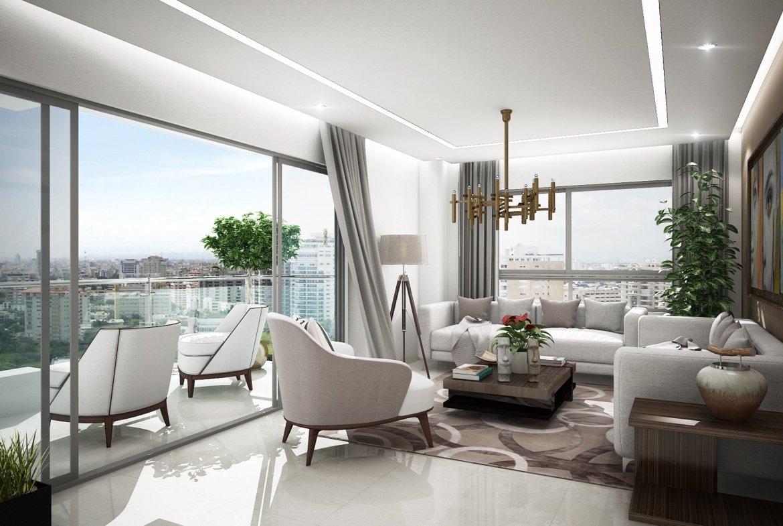 Torre Alinea - Ensanche Paraíso / área se la sala con muebles ventanas y puerta corrediza en clistal, techo en yeso cornisa, cortina y lámpara