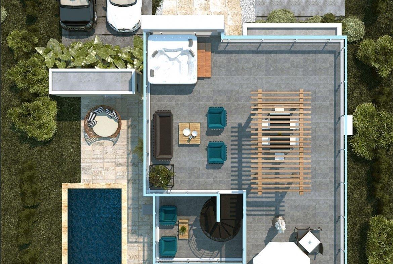 Blue Bay Villas & Lots - Terraza destechada en el 3er nivel - jacuzzi - gazebo - bañon