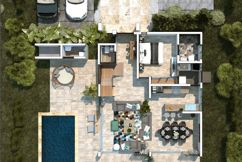 Blue Bay Villas & Lots - Área traerá - parqueo para 4 vehículos - Terraza - sala
