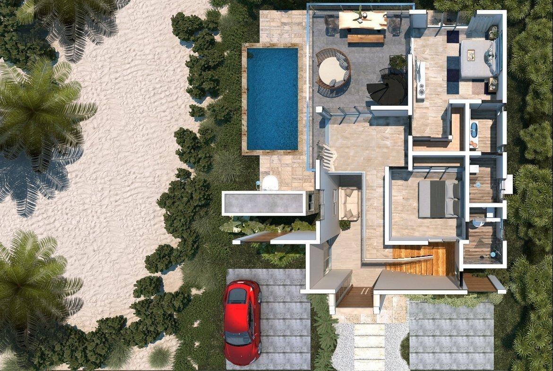 Blue Bay Villas & Lots - pationtracero - piscina - área de barbecue - terraza y baño